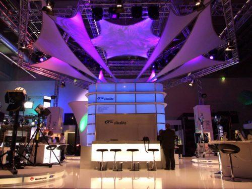 Projektionsfläche aus Stretchgewebe Polyamid, Elastan - 3Punkt-Stretchsegel SEOUL - Indoor Messestand