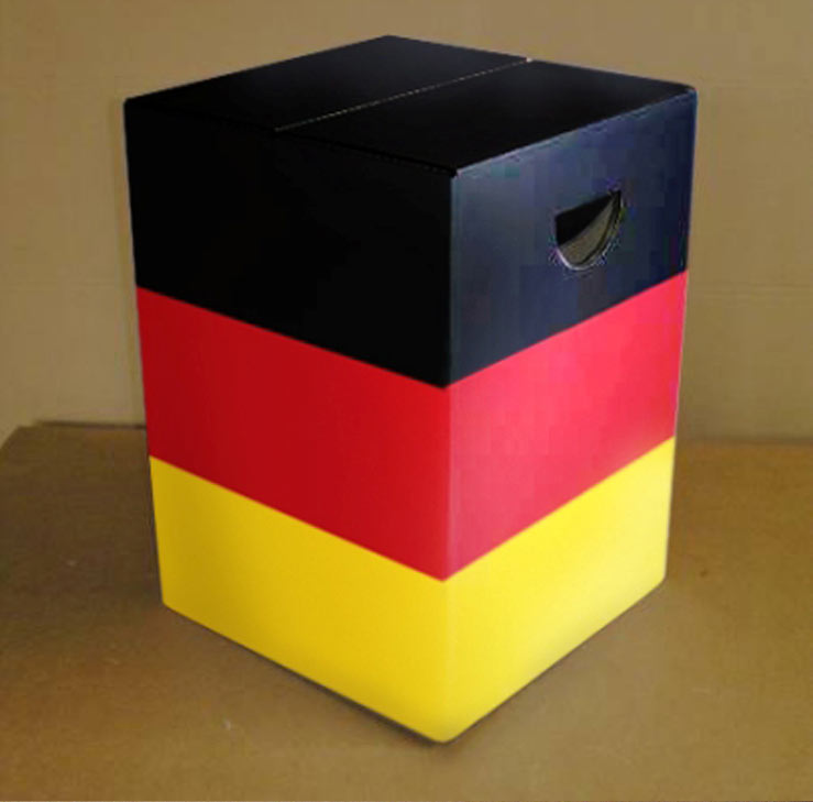 Papphocker mit Druck Deutschlandflagge drei Farben Digitaldruck mit hellen und knalligen Farben farbecht