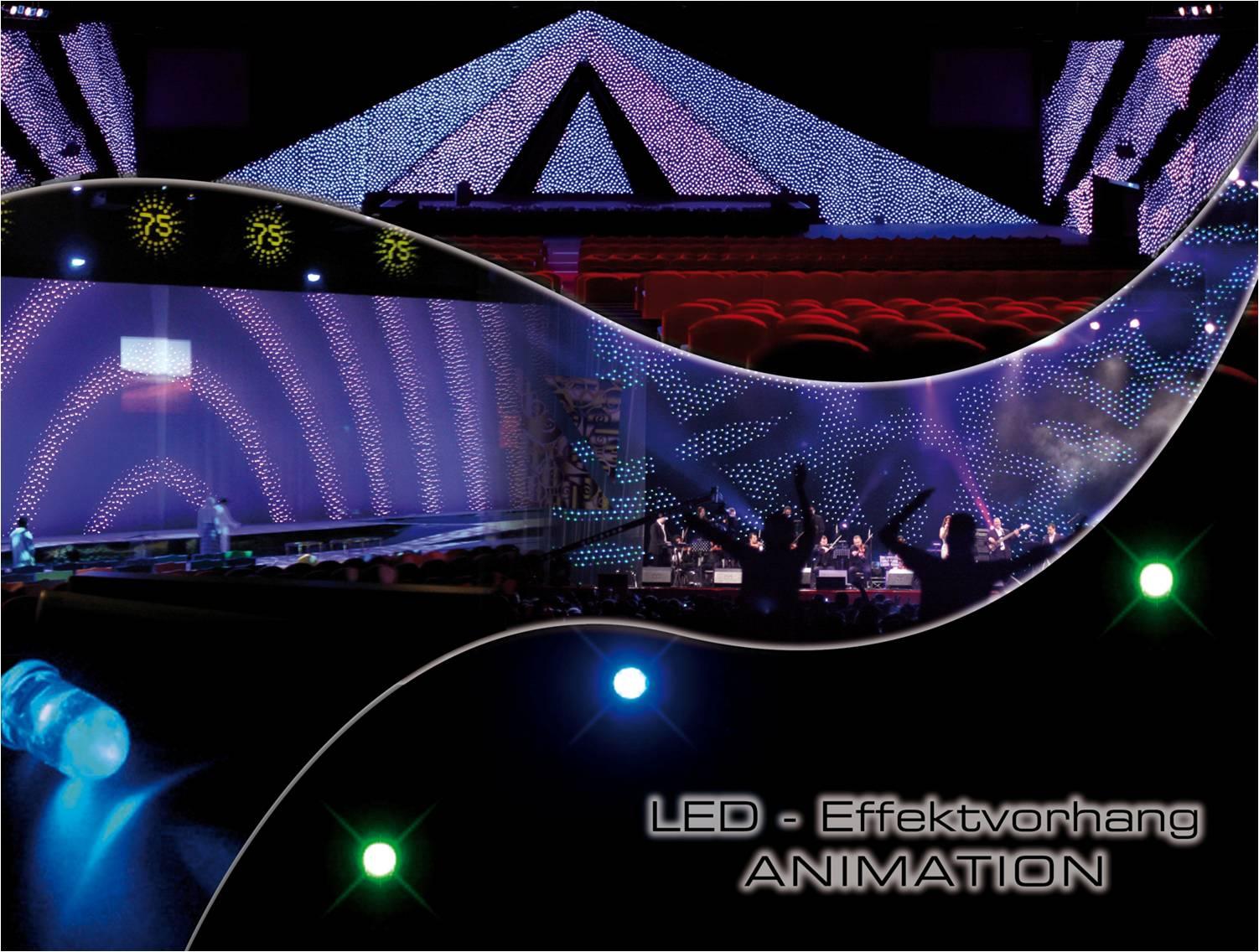 Flashanimation uvm lassen sich auf diesem Bühnenrückwand abfahren