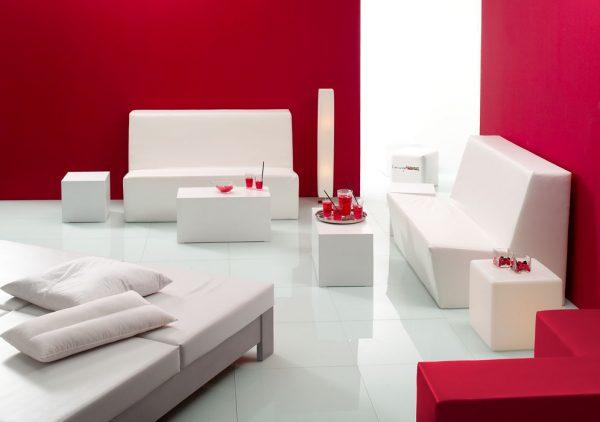 Loungemöbel modular weiss B1