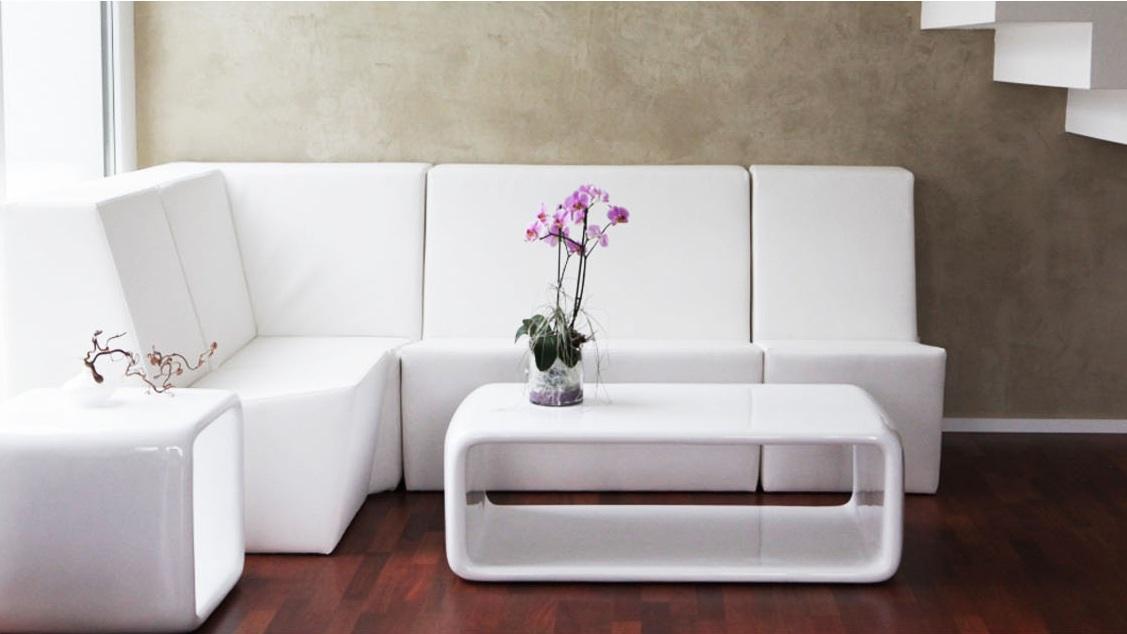 Loungemöbel modular weiss B1 mit Rückenlehne