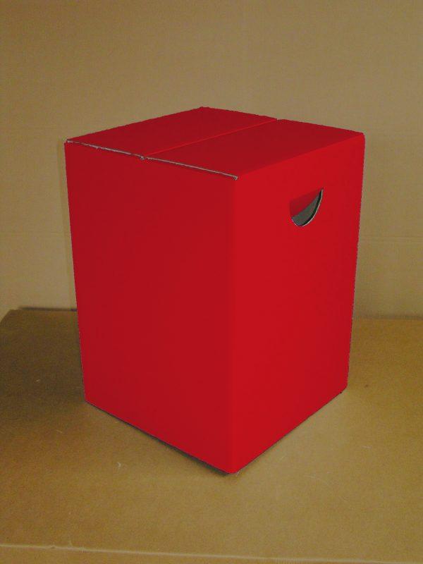 Papphocker Rot Uni Sitzhocker ROT mit Tragemulde aus Pappe bright color Lagerware Bestuhlung für Veranstaltungen Schulen Kirchen Messe Konrgresse tragbare Sitzgelegenheit zusammenfaltbar