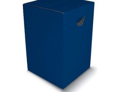 Sitzhocker BLAU Papphocker Blau mit Tragemulde aus Pappe bright color Lagerware Bestuhlung für Veranstaltungen Schulen Kirchen Messe Konrgresse tragbare Sitzgelegenheit zusammenfaltbar