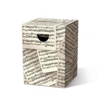 Motivpapphocker Allegro für Musikveranstaltung als Beistelltisch Bestuhlung für Vortrag auf Kongress Messe tragbare Sitzpapphocker