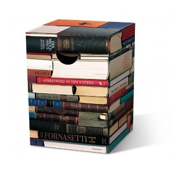 Motivpapphocker Leseratte oder Büchertisch als Beistelltisch Bestuhlung für Vortrag auf Kongress Messe tragbare Sitzpapphocker