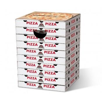 Motivpapphocker Margherita für Pizzaliebhaber als Beistelltisch Bestuhlung für Vortrag auf Kongress Messe tragbare Sitzpapphocker