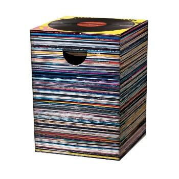 Motivpapphocker Music Express mit vielen Schallplatten gestapelt als Beistelltisch Bestuhlung für Vortrag auf Kongress Messe tragbare Sitzpapphocker