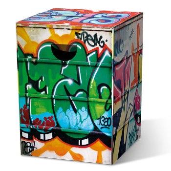 Motivpapphocker Graffiti für Sprühkünstler als Beistelltisch Bestuhlung für Vortrag auf Kongress Messe tragbare Sitzpapphocker