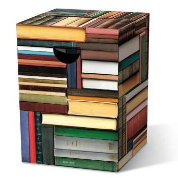 Motivpapphocker Oxford oder Büchertisch als Beistelltisch Bestuhlung für Vortrag auf Kongress Messe tragbare Sitzpapphocker