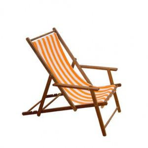 OutdoorLiegestuhl robusten Teakarmlehnen und fröhlicher orange-weißer Stoffbespannung