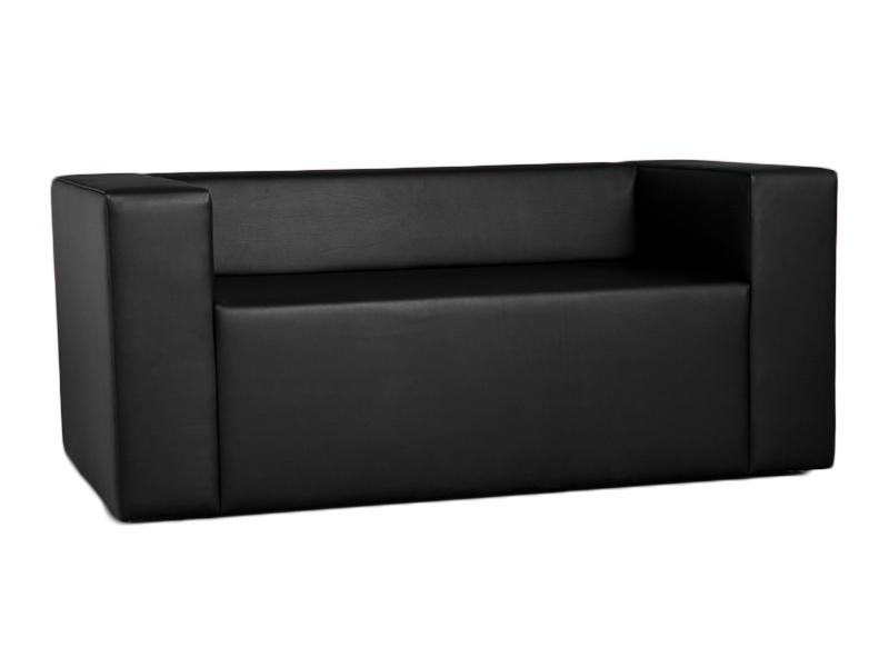Lounge Sofa/Couch passend zur Clubzone Serie Vermietung B1 Kunstleder matt schwarz