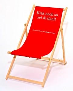 Robuster Holzliegestuhl mit Ihrem Logo oder Werbebotschaft