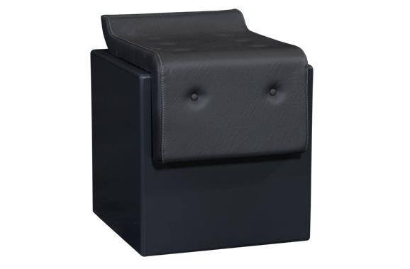 Sitzwürfel Negrid mit Chesterfield Zierknöpfen , Grafitschwarz, Vermietung passend zur Serie Negrid