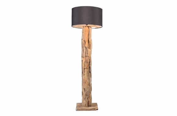 Rustikale Echtholzlounge Stehlampe aus Naturholz, Vermietung