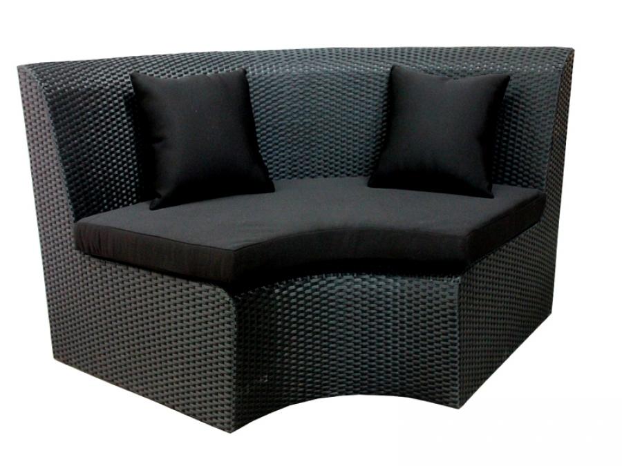 Geschwungene Outdoor Rattanmöbel FLOW Eckelement Corner schwarz -Blacklounge für den Außenbereich