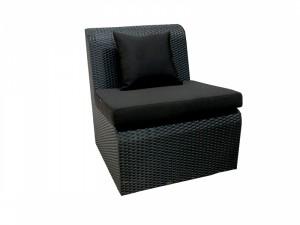 Geschwungene Outdoor Rattanmöbel FLOW Sessel Middle schwarz -Blacklounge für den Außenbereich