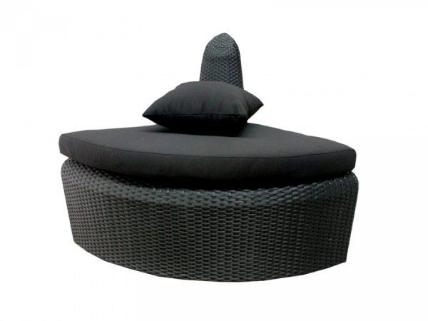 Geschwungene Outdoor Rattanmöbel FLOW Eckelement schwarz -Blacklounge für den Außenbereich
