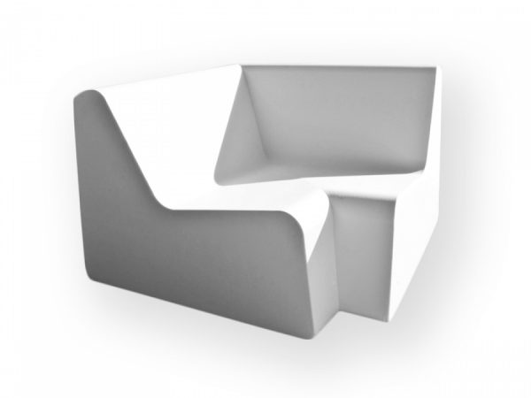 weiße Outdoorlounge Eckelement Corner aus PU Schaum, robust leicht zu reinigen, Vermietung