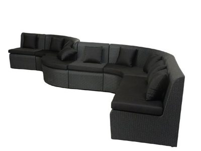 schwungene Rattanmöbel FLOW - schwarz -Blacklounge für den Außenbereich
