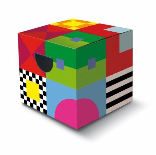 MiniPapphocker bedruckt, Würfelpuzzle, Würfelwand bei Teambuliding , Catering Buffeterhoehung Maße: 34 x 34 x 34cm (LxBxH)
