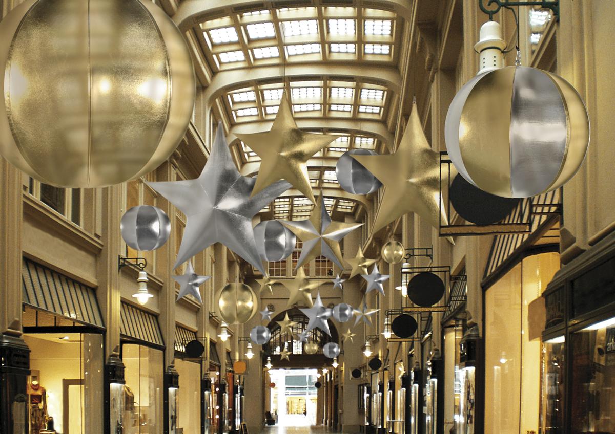Eventdekoration zur Weihnachtsfeier easy star2d und planet aus Stretchstoff: