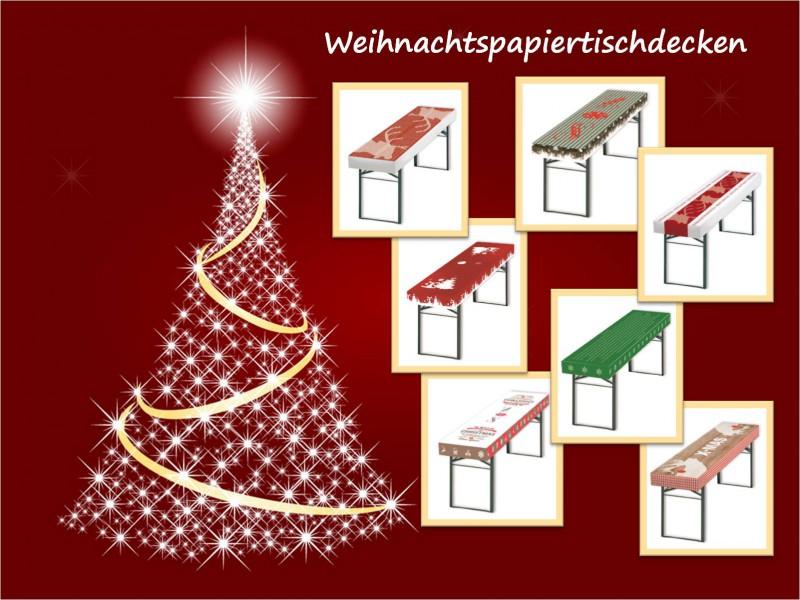 Patide Papiertischdecke für Festzelttisch mit 8 Motiven für Weihnachtsfeier Maße: 220 x 50 cm (Lx B)