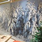 Bedruckte Rückwand mit Motiv Schneelandschaft mit Tannen: stehend - Vermietung