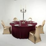 Glänzende Stretchhussen für Bankettisch und Bankettstühle: Farbe Bordeaux, Gold,, Silber-metallic - Vermietung