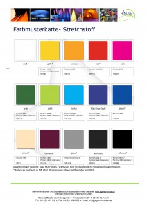 Farbkarte für Lagerware aller Stretchstoffe