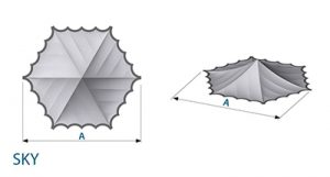 Stretch-Pagodenhimmel (6-Eck) SKY Masse Skizze