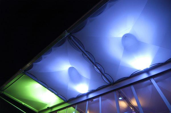 Zelthimmel aus Stretchgewebe Polyamid, Elastan - 4Eck und 6Eck Pagoden SKY mit Beleuchtung- Indoor
