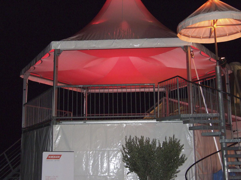 Zelthimmel aus Stretchgewebe Polyamid, Elastan - 6Eck Pagoden SKY mit Beleuchtung- Indoor