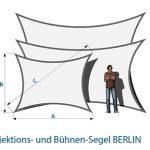 Projektionssegel BERLIN Maße Skizze