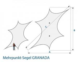 Stretchsegel GRANADA A/B Maße Skizze