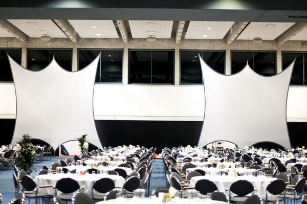 rojektionsflaeche aus Stretchgewebe Polyamid, Elastan - 6Punkt-Spannsegel HAMBURG- Indoor