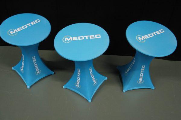 Stretchhusse für Stehtisch GALACTICA mit Bedruckung für Messen, POS, Promotion