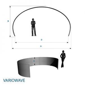 Bemassung für Tunnelsystem aus Stretchstoff: easy VARIOWAVE- Vermietung und Verkauf möglich