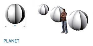 Skulptur aus Stretchstoff und GFK: PLANET hängen- Vermietung und Verkauf möglich