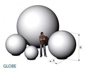 MietdekorationAgentur Rindle Inflatables Globe Cone Bemassung Skizze Leuchtkugeln easy airsystem hms