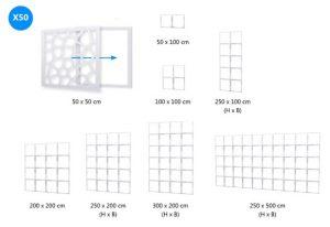 X-Vision Wandsystem und Möbelsystem<br /> Designmodule hinterleuchtbar<br /> schwer entflammbar<br /> Outdoorfähig<br /> Design: 2D WALLSYSTEM X50<br /> Maße: 50x50cm (Höhe variabel)<br /> Farbe: schwarz