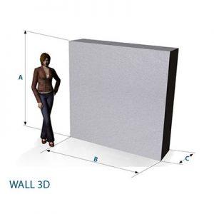 Maße für Wandmodul, für Messen, Hallen, Raumaufteillungen, elegant gestaltete Wand für aufstellbare Wandsysteme im Veranstaltungsbereich Agentur Rindle hms