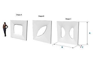 Bemaßung, freistehende, weiße Designer-Wandmodule, setzt Akzente, elegant gestaltete Wand für aufstellbare Wandsysteme im Veranstaltungsbereich Agentur Rindle hms