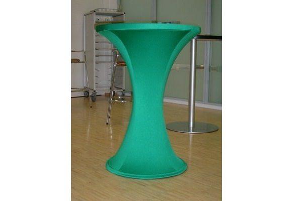 individuell konfigurierte Stretchhusse für Stehttisch mit rundem Fuß ohne Zipper in moosgrün individual easy cover Agentur Rindle hms