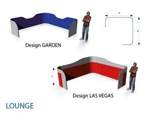 Agentur Rindle Skizze für Maße Loungewall modulare halb hohe Trennwände die einen abgegrenzten Bereich bilden, Besprechungsinsel, felxibles kreieren einer Lounge geschwungenes Design hms