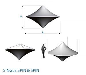 Agentur Rindle Skizze der Maße beleuchtete Raumskulptur hängend Kreiselform Messestand Single und Double Spin hms