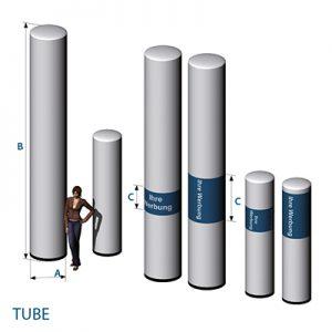 Bemassung für aufblasbares Skulptur: easy TUBE zum stellen- Vermietung und Verkauf möglich