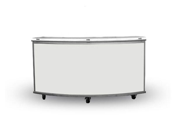 Mietmöbel- elegante schlichte weiße Barmodule ILLUMI gerade, konkav, konvex, rund - vieles mehr