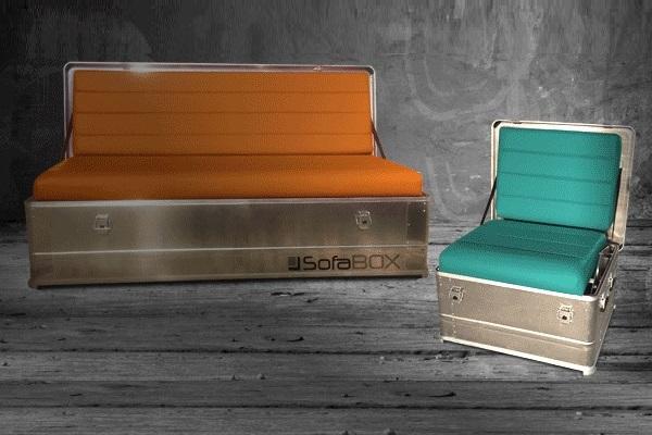 SOFABOX SESSELBOX moderne stylische Outdoor Sitzbank Alubank mit Kunstleder - Verkauf- SOF