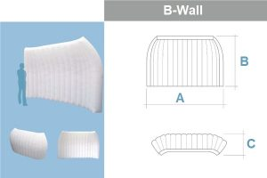 Bemaßung B-WALL (Raumtrenner) Agentur Rindle Inflatables (c) ADS