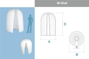 Bemaßung M-WALL (Kabine) Agentur Rindle Inflatables (c) ADS